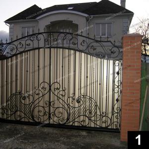 Кованые откатные ворота ОВ-01