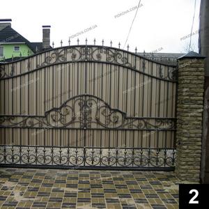 Кованые откатные ворота ОВ-02