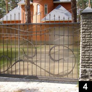 Кованые откатные ворота ОВ-04