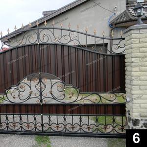 Кованые откатные ворота ОВ-06