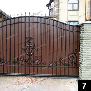 Кованые откатные ворота ОВ-07