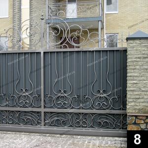 Кованые откатные ворота ОВ-08