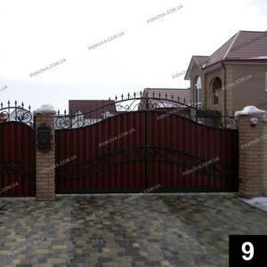 Кованые откатные ворота ОВ-09